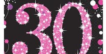 pink/ gold Celebration Age 30 Lunch Napkins - 2ply Paper (16pk)