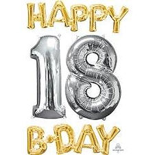 """'Happy 18th Birthday' Gold & Silver Foil Balloons - 26"""""""