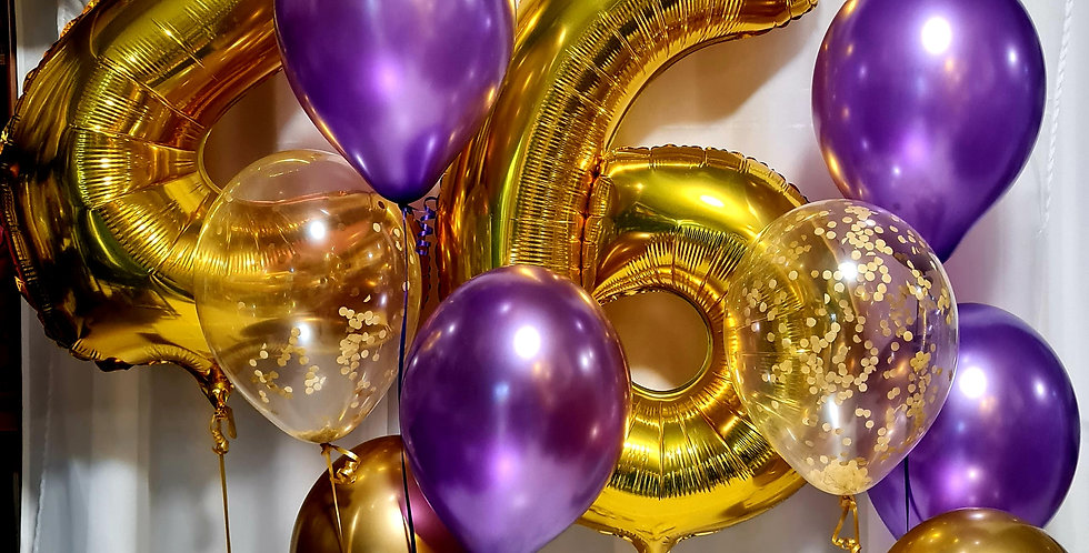 """2 foil numbers 34"""" + 8 latex 12"""" balloons including helium"""