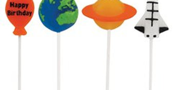 Space Blast Party Candles - Novelty Shaped Pick Candles (4pk)