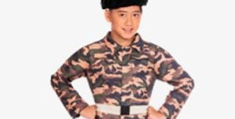 Camo Soldier - Child Costume includes jumpsuit, hat and mock belt a