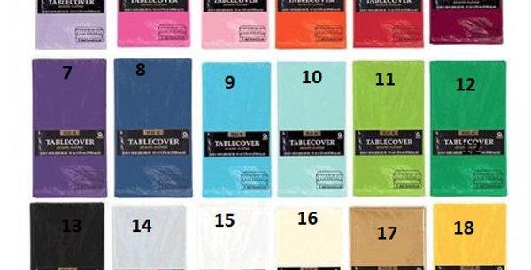 137x274cm plastic tablecovers various colours