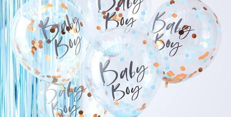 BLUE BABY BOY CONFETTI BALLOONS - TWINKLE TWINKLE  5PK