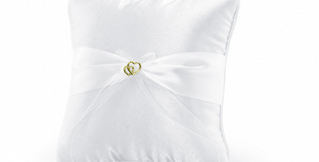 Ring bearer pillow made of white glossy satin, with white ribbon, chiffon ribbon