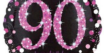 "Happy 90th Birthday Pink / gold Sparkling Celebration Balloon - 18"" Foil (each)"