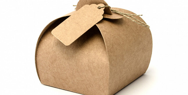 Boxes with tags, made of kraft paper, set contains 10 boxes (sizes after assembl