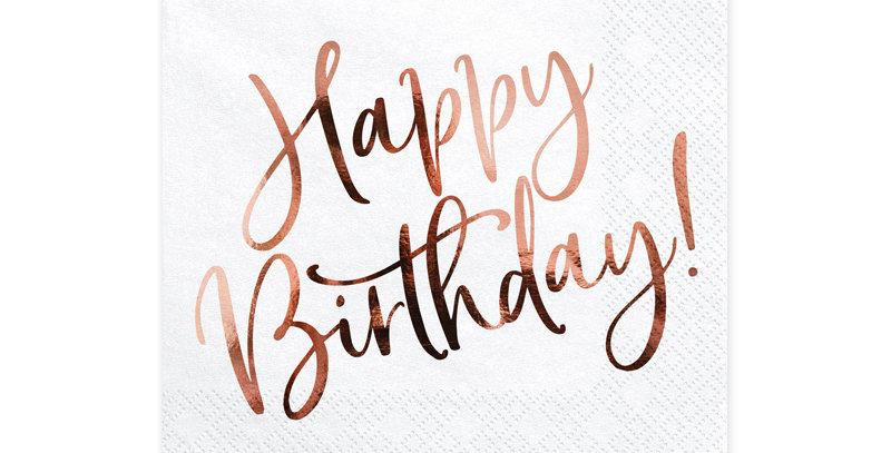 Paper napkins in white colour  metallic inscription Happy Birthday, siz