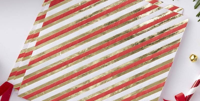 GOLD FOILED PIN STRIPE PAPER NAPKINS - RED & GOLD €6.99 20 napkins