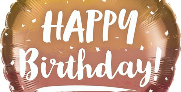 Happy Birthday Rose & Gold Ombre - 18'' Foil