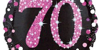 "Happy 70th Birthday Pink/gold  Sparkling Celebration Balloon - 18"" Foil (each)"
