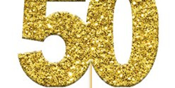 50th Golden Wedding Anniversary Glitter Cupcake Toppers (12pk)