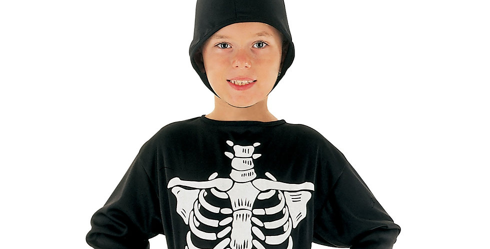 Skeleton Costume includes Jumpsuit and hood small 4-6yrs med 6-8 yrs and l