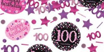 pink/ gold Sparkling Celebration Age 100 Confetti - 34g