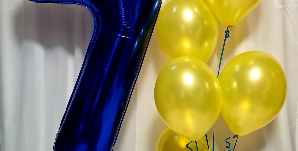 "1 number foil balloon 34"" + 5 plain latex 12"" balloon including helium"