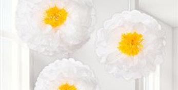 Daisy Flower Pom Pom Decorations - 41cm  3pk