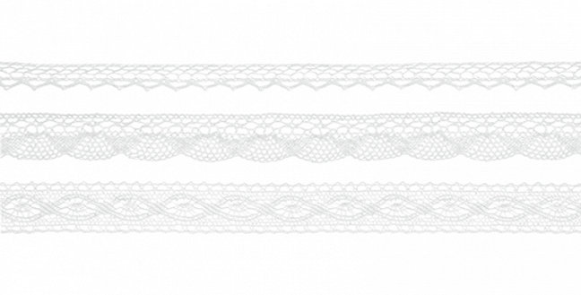 Cotton laces, white, on a roll, width approx. 1 cm and 2 cm, length of each lace