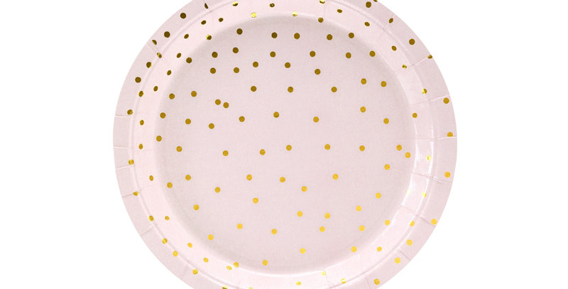 Paper plates in light pink colour with gold polka dots pattern, diameter approx.