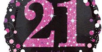"Happy 21st Birthday Pink/gold  Sparkling Celebration Balloon 18"" Foil each)"