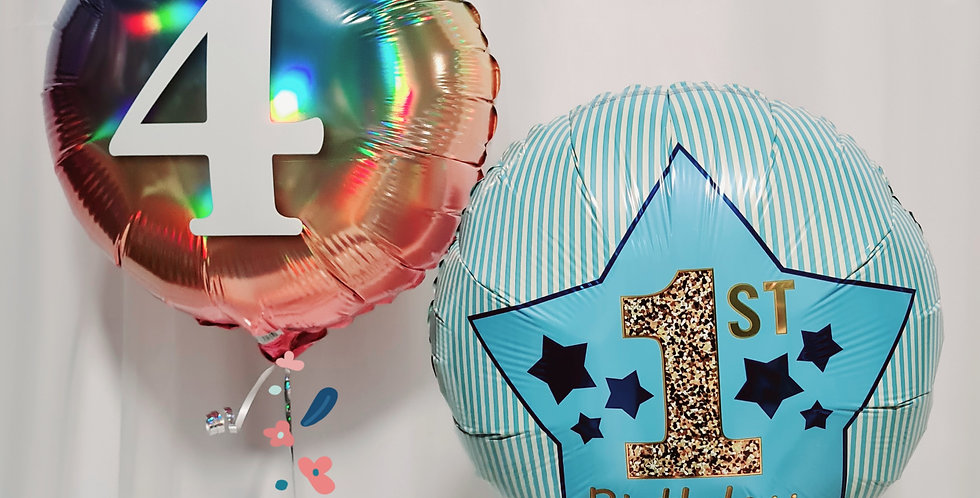 """2 foil balloons 18"""" including helium"""