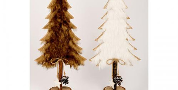 Wooden christmas tree with fur h46cm Assorted colours