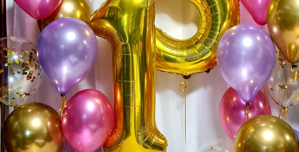 """2 clusters of 8 balloons + 2 x 34"""" numbers including helium"""