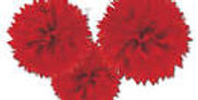 Red Paper Fluffy Decoration 30cm