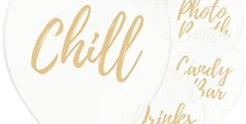 Wedding Sign Balloons - 12'' Latex   6pk