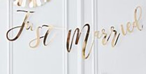 GOLD JUST MARRIED BUNTING