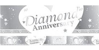 60th Diamond Wedding Anniversary Banner - 2.7m (each)