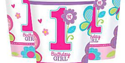 Sweet Girl 1st Birthday Cups - 256ml Paper Party Cups