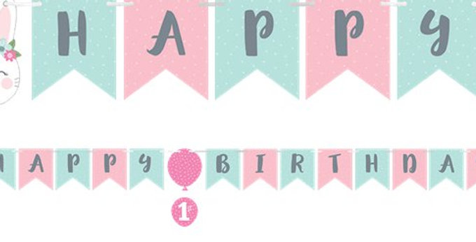 Birthday Bunny Ribbon Banner with Sticker Attachments (each)