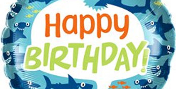 Shark Happy Birthday Balloon - 18'' Foil
