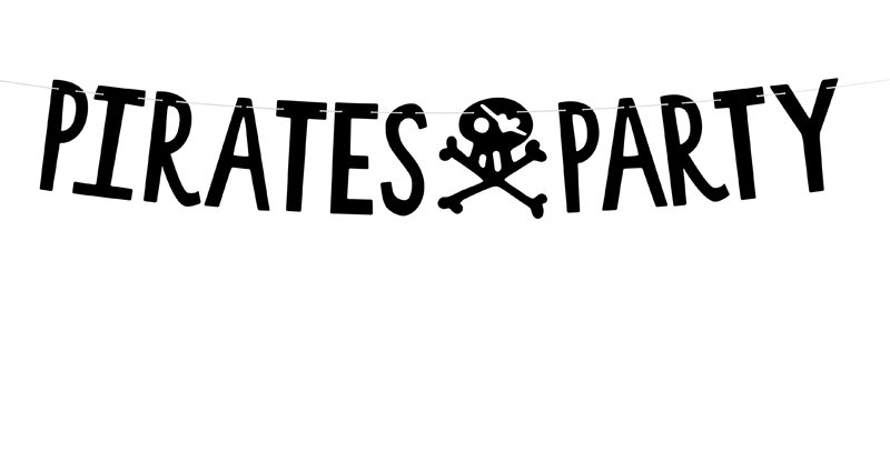 Banner Pirates Party made of black paper, set contains letters and approx. 2 m o