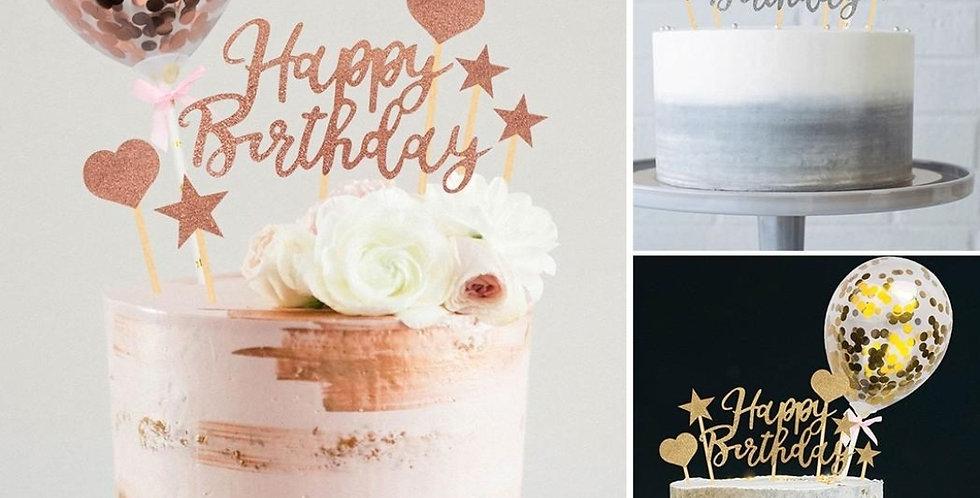 10pc happy birthday cake topper kit confetti balloon , topper