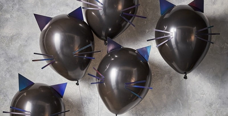 CAT HALLOWEEN PARTY BALLOONS - LET'S GET BATTY