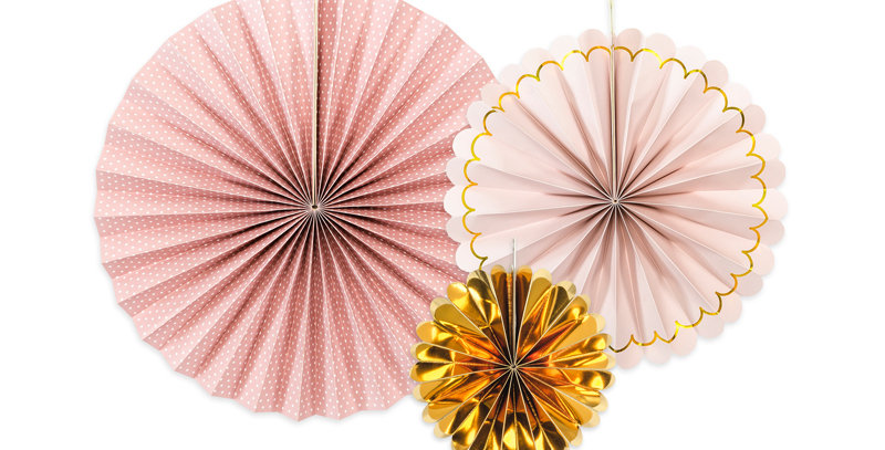 Decorative Rosettes, mix of colours and designs, diameters after assembling appr
