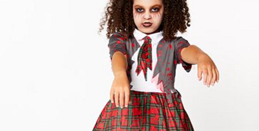 Zombie School Girl - Child Costume  includes dress and attached tie