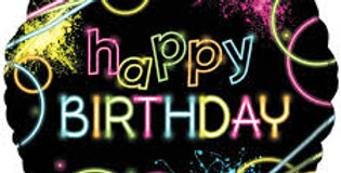 "18"" H.BDAY  foil balloon Glow party"