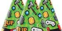Game On Party Hats - Childs Cone Paper Hats (8pk)