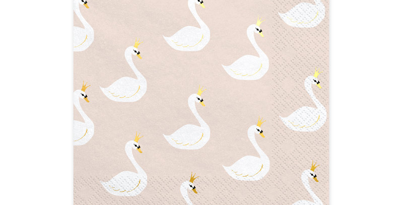 Paper napkins Lovely Swan, in beige colour with a print, size after unfolding ap