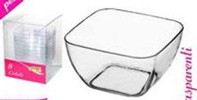 SET of  8 transparent plastic square canape dish   5.5 x 3 cm