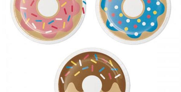 18cm dessert plates doughnut 3 assorted designs 8pk