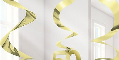 50th Gold Hanging Swirls Party Decoration (5pk)