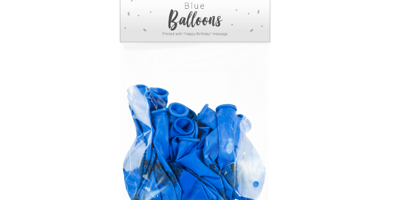 Blue Happy Birthday Balloons - 15 Pack