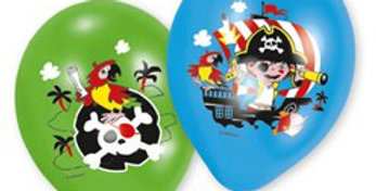 Captain Pirate Balloons in Assorted Colours - 11''Latex (6pk)
