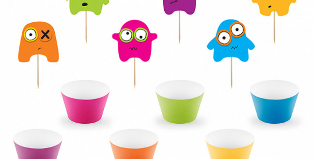Cupcake kit Monsters, set contains 6 cupcake wrappers made of paper (sizes appro
