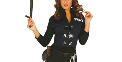 S.W.A.T  Adult costume Hat, t-shirt with waistcoat and spandex trousers 10-12,14