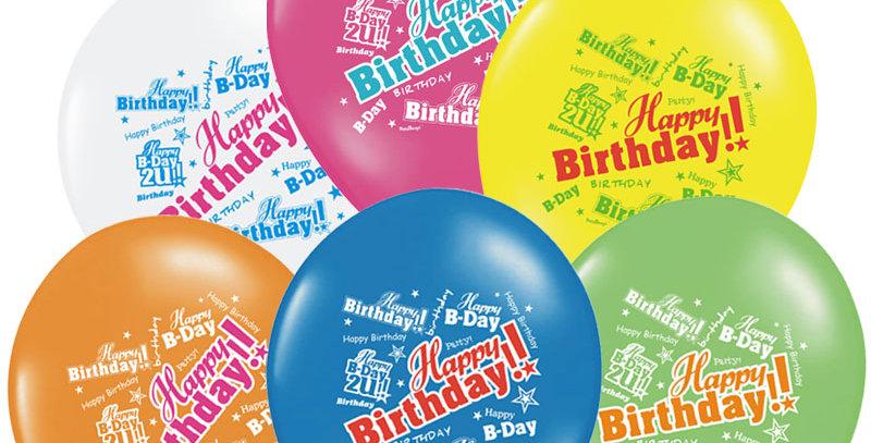 Balloons 30cm, Happy Birthday, Pastel Mix   6pk.
