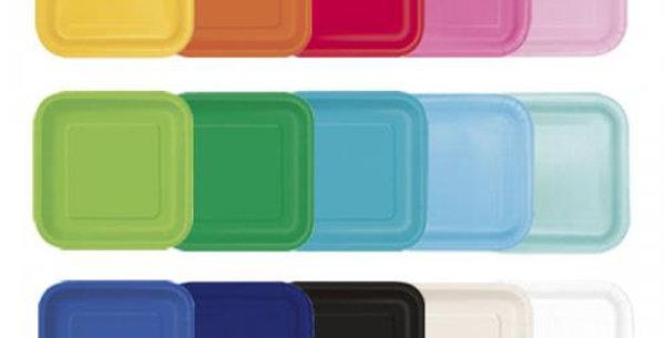 Square paper plates Unique 23cm various colours 14pk