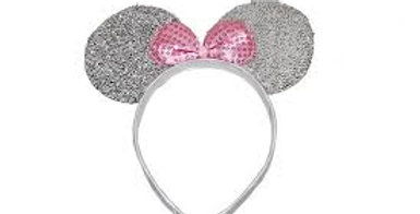 Silver sparkly mouse ears with Pink sequin bow